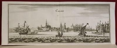 Calais France 1655 Matthaus Merian Unusual Antique Copper Engraved City View