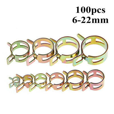 100pcs 6-22mm Spring Clip Tube Clamp Fastener for Air Fuel Gas Hose Line Water P