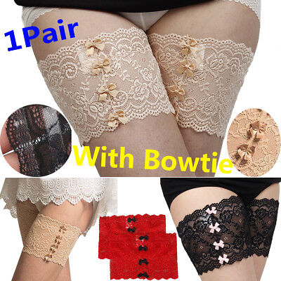 Women Lace Elastic Socks Anti-Chafing Thigh Bands Legs Prevent Chafing + Bowtie