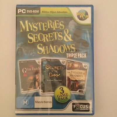 3 Game pack Mysteries Secrets & Shadows PC CD-ROM hidden object game