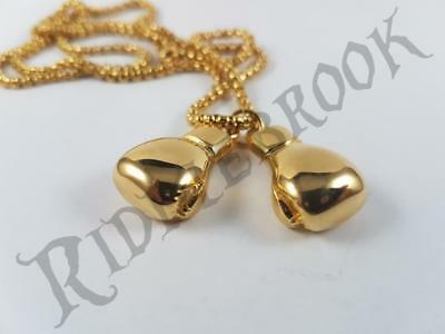 Gold toned Pair of Boxing Gloves Stainless Steel biker pendant and Rocky Balboa