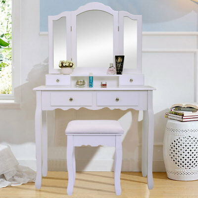 White Vanity Makeup Dressing Table Set w/Stool 4 Drawer & Mirror Wood Desk