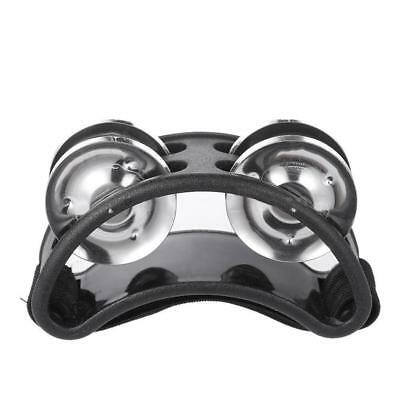 Foot Tambourine Percussion Instrument Metal Jingle Bell Black Kid Musical Toy HS