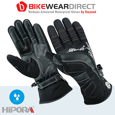 Womens Black Patterned Textile Motorcycle / Motorbike Gloves - XS to XL