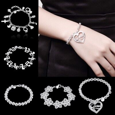 US Women Charm 925 Sterling Solid Silver Chain Bracelet Bangle Hand Jewelry Gift