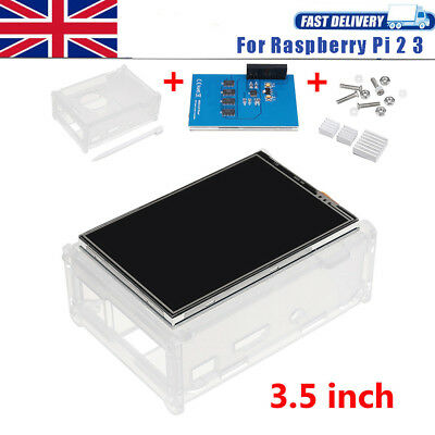 "3.5"" LCD Touch Display Screen Board Pen Kit Heatsink W/Case For Raspberry Pi 2/3"