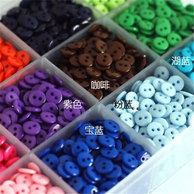 28 Colors 100Pcs 2 Holes 9mm Round Resin Buttons Scrapbooking Sewing DIY Craft