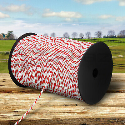 500m Poly Rope Roll Electric Fence Energiser Stainless Steel Insulator Farm Wire
