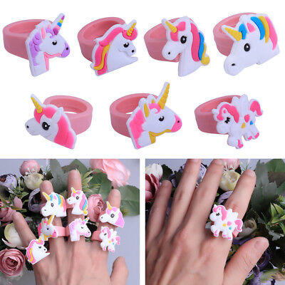 5/10Pcs Wholesale Unicorn Silicone Finger Ring Kids Jewelry Party Bag Gift Favor