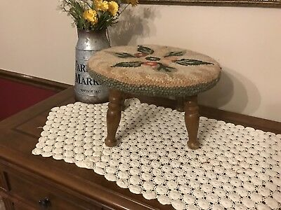 Vintage Hand Hooked Floral  Foot Stool Turned Wooden Legs