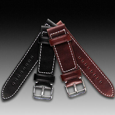 Genuine Leather Watch Strap Band Brushed Steel Buckle 18mm 20mm 22mm 24mm Width