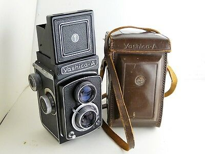 Yashica A TLR camera with case.