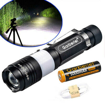 15000Lumen T6 LED 5 Modes USB Rechargeable 18650 Flashlight Torch Zoom Lamp
