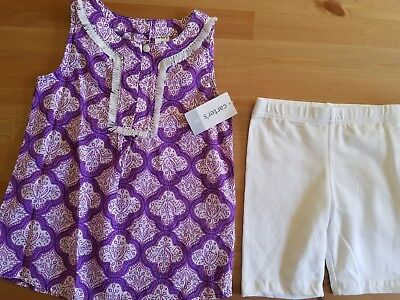 Carters girls size 5 NWT Sleeveless Purple Print Top with White Leggings Shorts