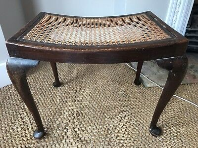 Antique vintage bergere piano vanity stool seat with cabriole legs