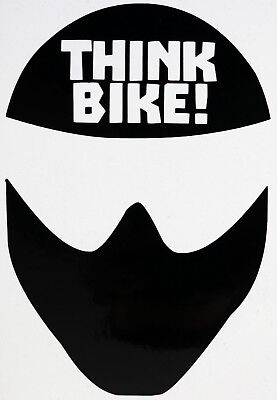 Reflective BLACK (Reflects as White) Think Bike (Helmet) Motorcycle Sticker
