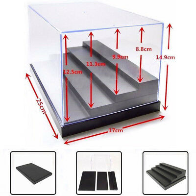 4 Step Acrylic Display Case 9.8''L Clear UV Plastic Box Dustproof Toy Protection