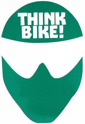 Reflective GREEN Think Bike (Helmet) Motorcycle Safety Sticker - Peel and Stick