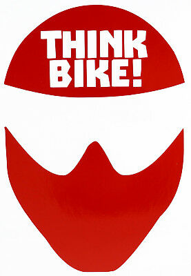 Reflective RED Think Bike (Helmet) Motorcycle Safety Sticker - Peel and Stick