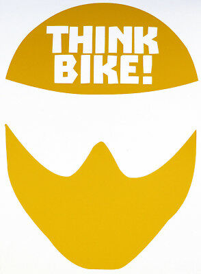 Reflective YELLOW Think Bike (Helmet) Motorcycle Safety Sticker - Peel and Stick