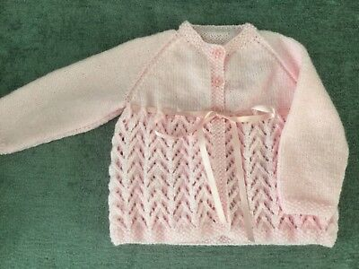 Girls Hand Knitted Cardigan In Pink 3-6 Months