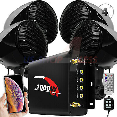 1000W Bluetooth Motorcycle Stereo 4 Speakers Audio M3 System AUX USB SD FM Radio
