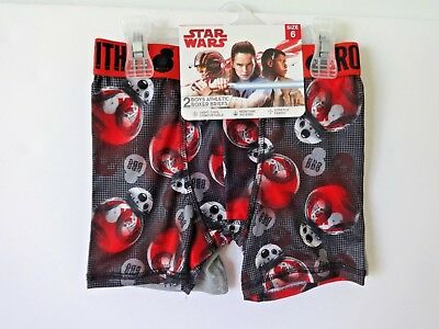 Star Wars Boys Athletic Boxer Briefs Size 6 2 Pack