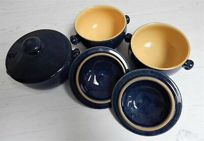 Vintage Bourne Denby Cottage Blue Lidded Lugged Soup Bowl Cup X3