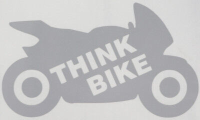 Reflective SILVER / WHITE Think Bike (Outline) Motorcycle Safety Sticker