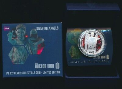 Niue 2014 $1 1/2 oz .999 Silver Proof Coloured Coin Dr Who Weeping Angels