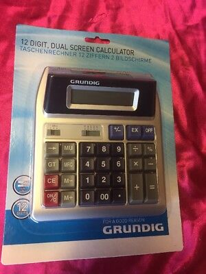 Grundig 12 Digit Dual Screen Calculator Desktop Home Office Shop Stationary