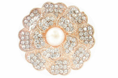 Rose Gold Plated White Cultured Freshwater Pearl Flower Brooch Corsage Present