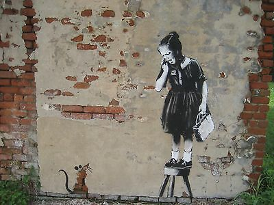 Banksy Rat Girl on Stool Wall Art Work Canvas Picture Graffiti Urban Print