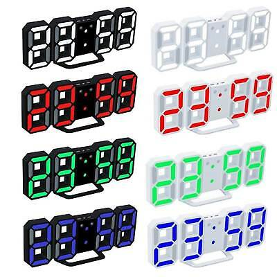 3D Modern Design Digital LED Wall Clock Alarm Table White 12/24 Hours Display UK