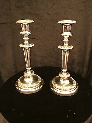 Pair Of Old Silver Plate Candlesticks