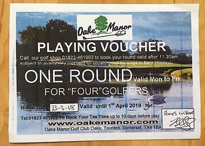 Golf Voucher For 4 People At Oake Manor Golf Course