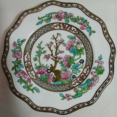 Lot 4 Coalport Bread & Butter Plates Indian Tree Pattern White Pink Green China