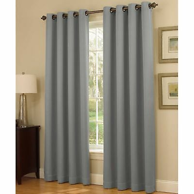 Insola Dorian Thermalayer Grommet Top 108-Inch Window Curtain Panel in Silver/Bl