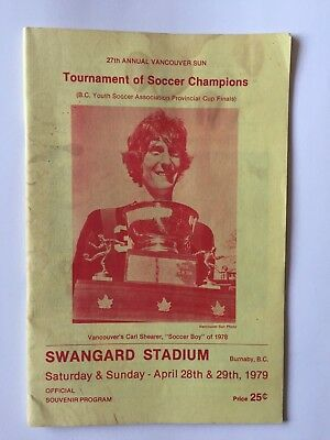 Tournament Of Soccer Champions Carl Shearer Vancouver, B.c. Canada Magazine 1979