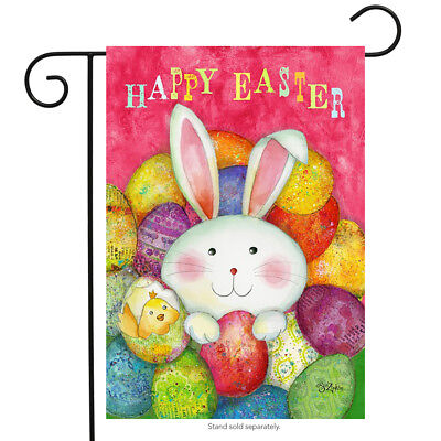 "Happy Easter Garden Flag Bunny Decorated Eggs Briarwood Lane 12.5"" x 18"""