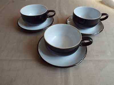 3 x Denby Jet Tea Cups and Saucers Excellent