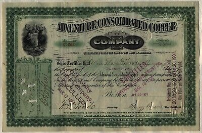 Adventure Consolidated Copper Company Stock Certificate Michigan Mining Green