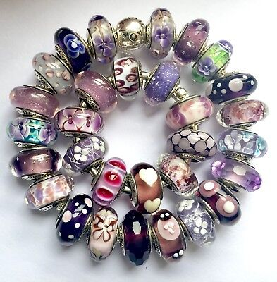 30 Pandora 925 silver beads charm glass purple flower pink butterfly n
