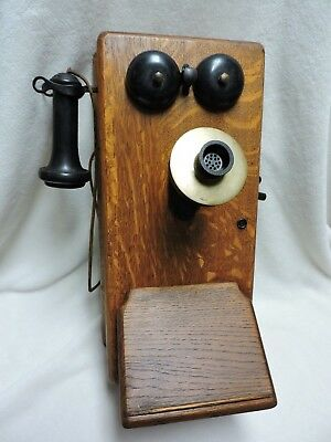 Vintage Antique Oak Wooden Wall Stromberg Carlson Telephone Hand Crank Style