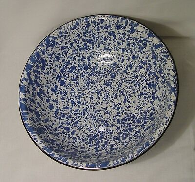 "Blue & White Splatter Enamel Graniteware Large 12"" Bowl, Metal Farmhouse EC"