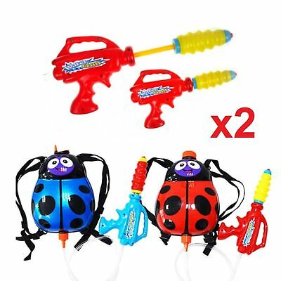 Set of 2 Ladybird 2L Backpack Water Gun Wet Toys Cannon Blaster Garden Kids Fun