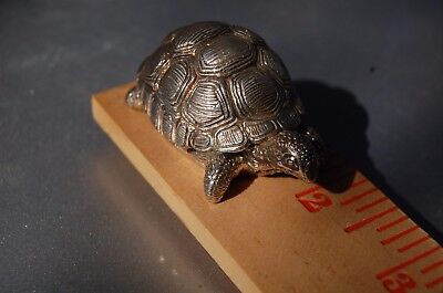 Turtle 2 Inches Made In Italy In 1950,s Heavy Silver Plated Stamped 925 Read Add
