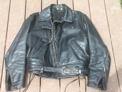 1930s-40s Police CHP Issue Horsehide Leather Motorcycle Jacket NOS