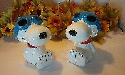 Vintage Peanuts Snoopy Flying Ace Ceramic Bookends by Butterfly