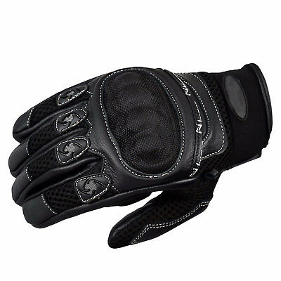 Mens Knuckle Protective Vented Summer Short Motorbike Motorcycle Leather Gloves